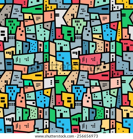 Brazilian favela. Bright colored seamless pattern. Vector background. - stock vector