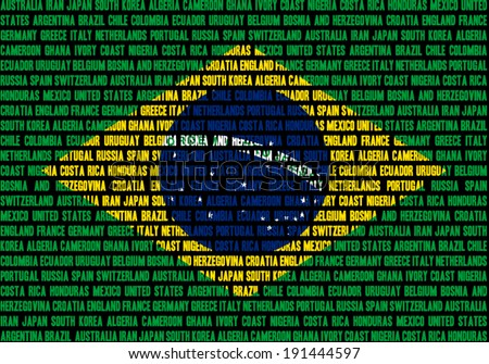 Brazilian flag made out of team names which play at Brasil 2014 football championship, team names in separate rows, all equal size. - stock vector