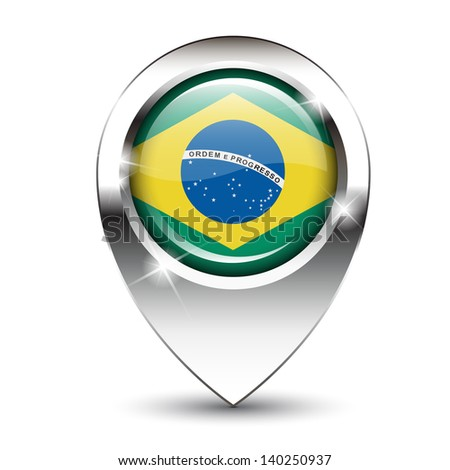 Brazilian flag on glossy map pin, against white background with shadow. EPS10 vector format - stock vector