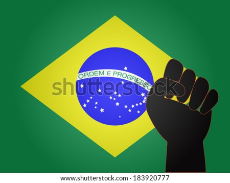 Brazilian Flag with Protest Sign EPS10 - stock vector