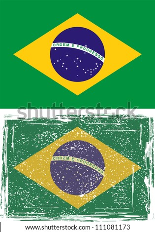 Brazilian grunge flag. Grunge effect can be cleaned easily. - stock vector