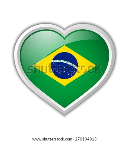 Brazilian heart shaped badge or icon with shadow on white background - stock vector