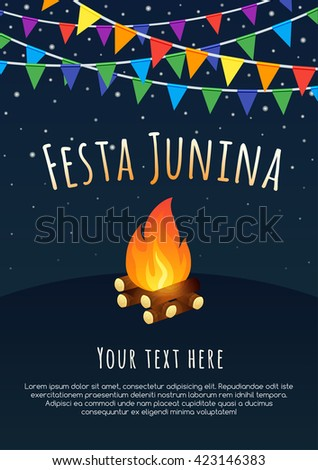 Brazilian june party. Latin American holiday background. - stock vector