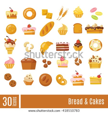 Bread an cakes infographic icons set. Bakery vector icons. - stock vector