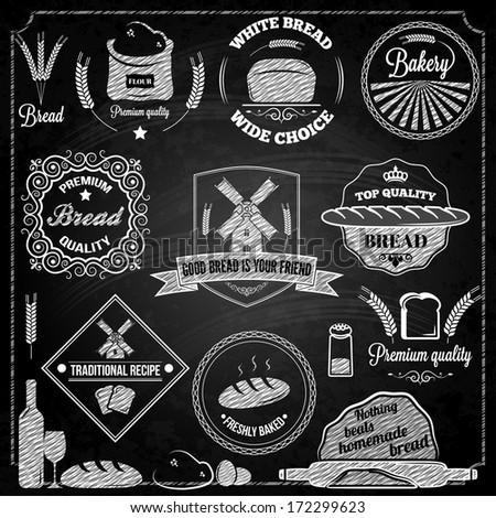 bread bakery set elements chalkboard - stock vector