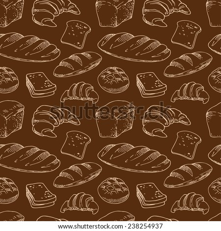 Bread, seamless pattern with bakery products, light contour on a brown background.. - stock vector