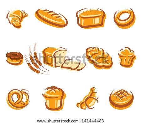 Bread set. Vector - stock vector