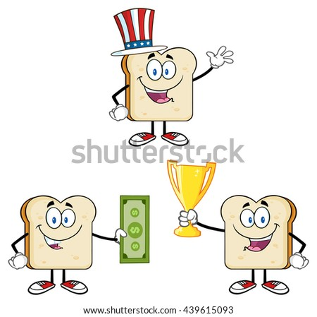 Bread Slice Cartoon Mascot Characters. Vector Illustration Isolated On White Background Collection Set 6 - stock vector