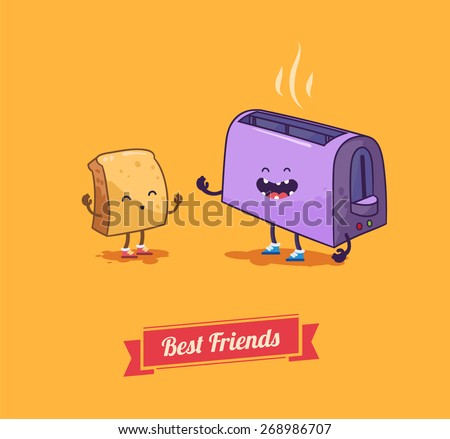 Bread toaster with smiling bread. good morning . Best friends set.  vector illustration - stock vector