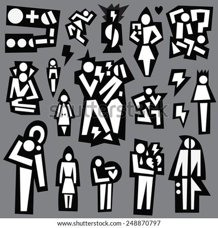 break,quarrel between a man and a woman , conflict - vector icons set - stock vector