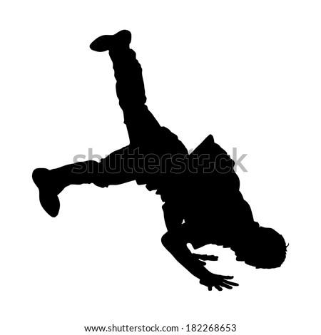 Breakdance vector silhouette, break dance man isolated on white background.  - stock vector