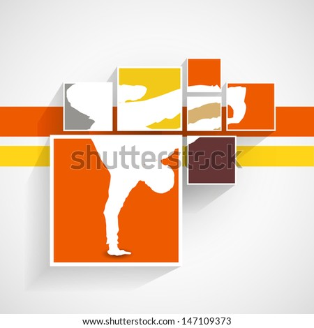 breakdancer illustration in squares/ Vintage colors, - stock vector