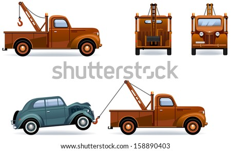 Breakdown Truck (30th-40th) at work. Set of the car icons in vector.  In the side, back and front views. Elements are in the separate layer.  - stock vector