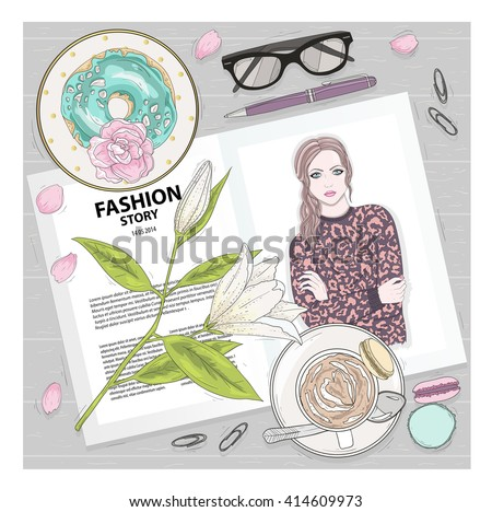 Breakfast background with magazine, coffee, macaroons, flower, gasses and berries. Cute flat lay fashion illustration for girls or women. - stock vector