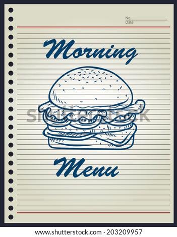 breakfast burger doodle - stock vector