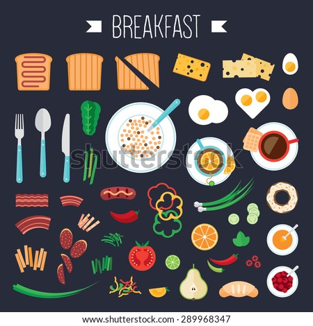 Breakfast concept with fresh food and drinks flat icons set vector illustration - stock vector