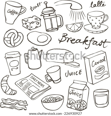 Breakfast food and icons doodle set - stock vector