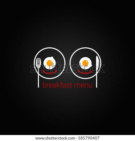 breakfast food scrambled menu design background - stock vector