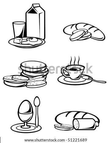 Breakfast food symbols for design isolated on white or logo template. Jpeg version also available in gallery - stock vector