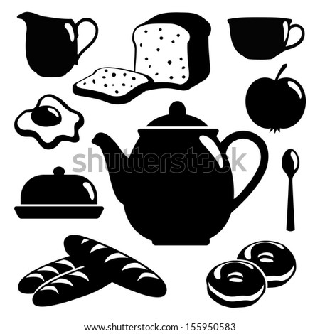 Breakfast icons set, black isolated vector silhouettes of food, drink and pottery - stock vector