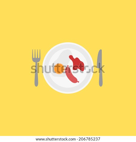 Breakfast illustration. Fork, knife, plate, ketchup, sausage, and fried eggs. Flat design elements, for flyer, poster, card, banner, menu. Easy to edit. Vector illustration - EPS10. - stock vector