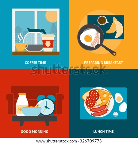 Breakfast lunch and coffee time icons set with preparing a meal flat isolated vector illustration  - stock vector
