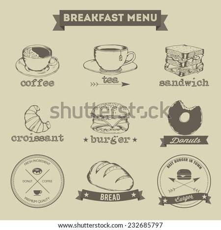 Breakfast Menu Hand Drawing Style - stock vector