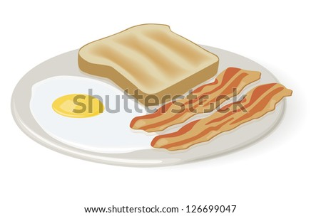 Breakfast of Eggs Bacon and Toast - stock vector