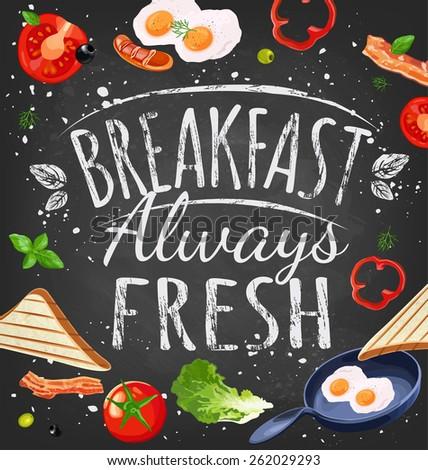 Breakfast poster chalkboard. Fried eggs, sausage on pan, ingredients for breakfast. Vector illustration - stock vector