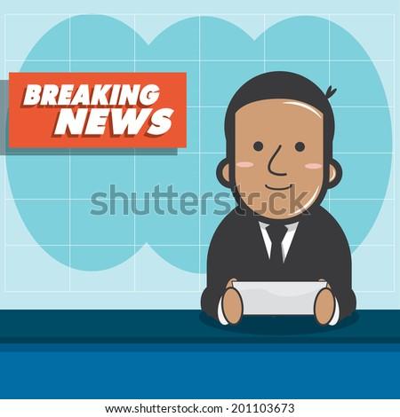 Breaking news - News announcer in the studio - vector  - stock vector