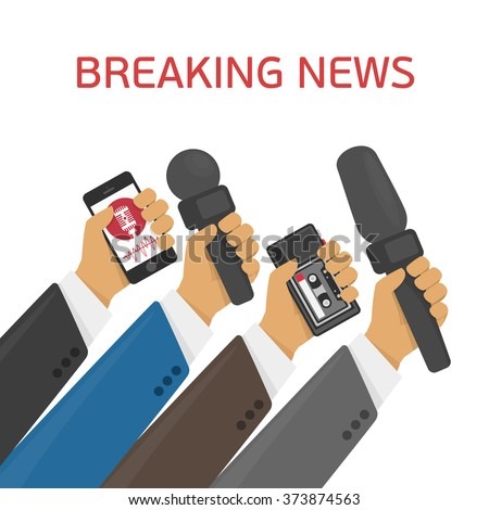 Breaking news. Vector live report concept, live news, hands of journalists with microphones and tape recorders. - stock vector