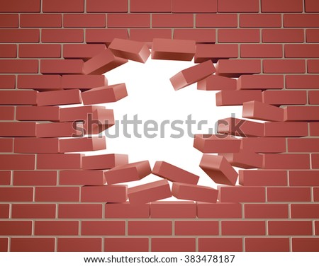 Breaking through a brick wall with a hole  - stock vector