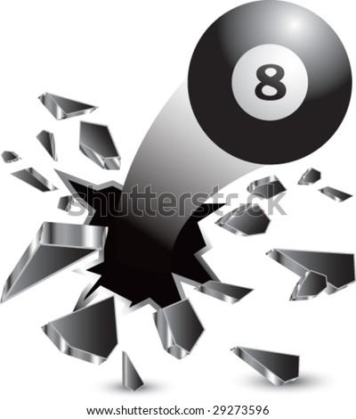 breakthrough eight ball isolated - stock vector