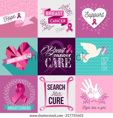 Breast cancer awareness flat illustration graphics elements set with pink vintage symbols and font text. EPS10 vector file. - stock vector