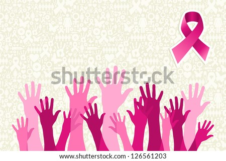 Breast cancer awareness hand people campaign over icon set background. Vector file layered for easy manipulation and custom coloring. - stock vector