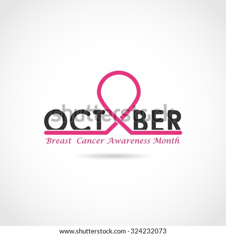 Breast cancer awareness logo design. Breast cancer awareness month icon.Realistic pink ribbon. Vector illustration  - stock vector