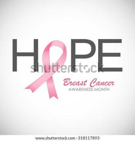 Breast Cancer Awareness Pink Ribbon Vector Illustration EPS10 - stock vector