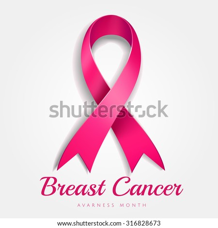 Breast cancer awareness pink ribbon with gradient mesh on white background, Vector Illustration - stock vector