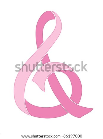 Breast Cancer Awareness Ribbon in Shape of Ampersand, the AND Symbol - stock vector