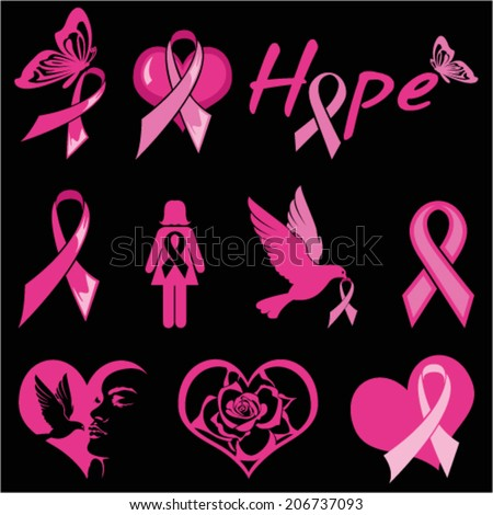 Breast Cancer Motifs - stock vector
