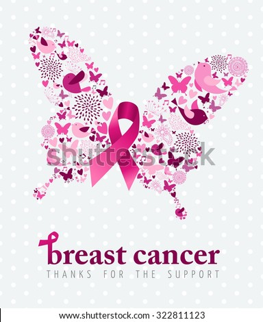 Breast cancer support poster pink ribbon with spring icon elements as butterfly wings. EPS10 vector. - stock vector