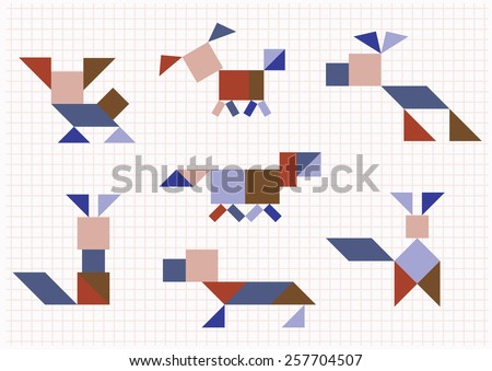 breed dog on a white background Tangram - stock vector
