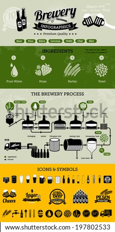 Brewery infographics with beer elements & icons - beer production process - stock vector
