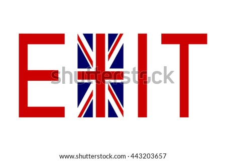 Brexit concept. Flag of United Kingdom with word Exit. - stock vector