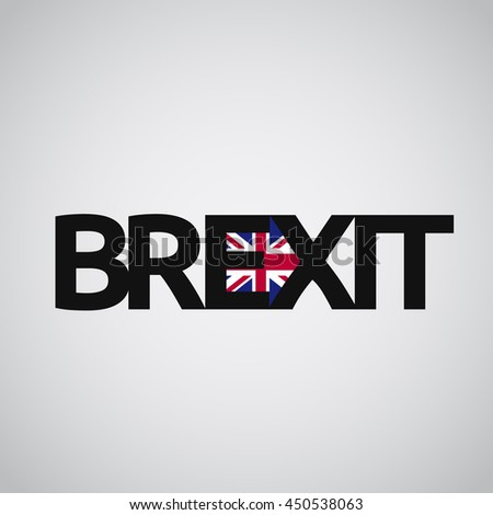 Brexit text with UK flag and an arrow, vector - stock vector