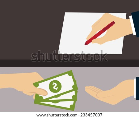 Bribe. Man giving money to the person who signs the document. Vector illustration  - stock vector