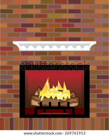 Brick Fireplace vector - stock vector