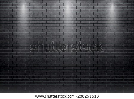brick wall black - stock vector