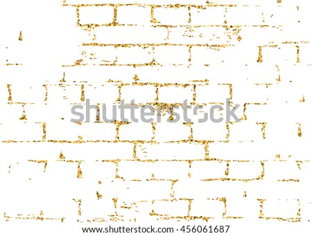 Brick wall gold texture pattern. Golden and white abstract decorative tile background. Grunge retro surface. Old brickwork silhouette. Urban design for wallpaper, card, decoration. Vector Illustration - stock vector