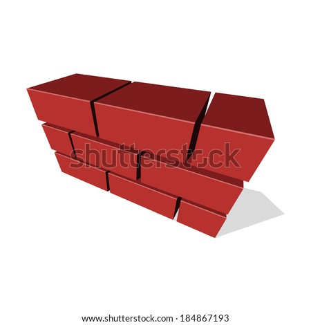 Brick Wall Icon 3D on White Background. Vector - stock vector